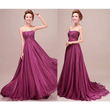 Gamiss Sexy Evening Formal Party Dress Ball Gown Prom Bridesmaid Long Tail Dress = 1843009476