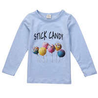 Spring Autumn Toddler Kid Baby Girls Casual  Lollipop Long Sleeve T-shirt Top Clothes
