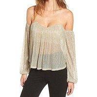 Final Sale - 4SI3NNA - Shimmer and Shine Off the Shoulder Top in Metallic Gold