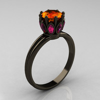 Classic 14K Black Gold Marquise Pink Sapphire 10 by artmasters