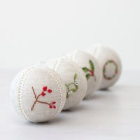 Set of 4 rustic christmas ornaments natural linen with cross stitch picture