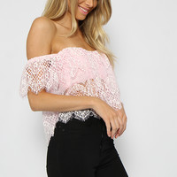 Honeywell Crop - Pink off the shoulder lace crop top