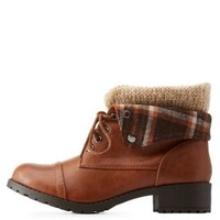 Tan Plaid & Sweater-Lined Foldover Combat Boots by Charlotte Russe