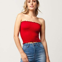 SKY AND SPARROW Smocked Womens Tube Top