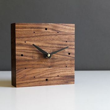 Handcrafted 5.5 in. square desk clock walnut wood with black tapered hands