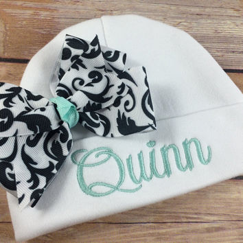 Personalized Baby Beanie Hat, Monogramed Baby Hat,  Embroidered Monogram Black Damask, Infant Girl Personalized Newborn Baby Shower Gift,
