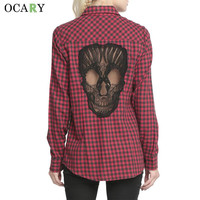 Skull Hollow Out Women Blouses Plaid Shirts Long Sleeve Blouse Spring Summer Blusas Mujer 2016 Haut Ete Plus Size XL Chemise Red