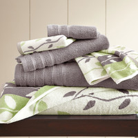 Ash Gray Six-Piece Organic Vines Stripe Yarn-Dyed Towel Set