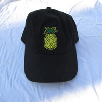Tropical Pineapple Patch on Black Baseball Cap