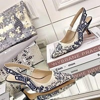 Christian Dior new letters embroidered canvas sandals ladies sexy high heels