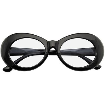 Retro Flat Round 1990's Fashion Clout Goggle Oval Clear Lens Eyewear Glasses
