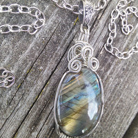 Labradorite Cabochon, Labradorite Pendant, Crystal Necklace,Wire Wrapped Labradorite,Gypsy necklace,Wiccan Pagan Crystal Jewelry, Larp