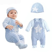 Boys 3 piece set. Overalls Romper, Shirt and Hat