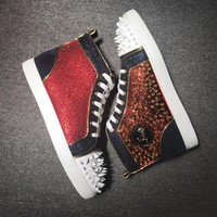 KUYOU Christian Louboutin red sole classic rivet shose Roller Boat CL classic High Top shoe