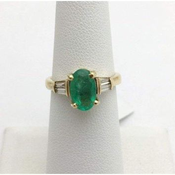 Oval Cut Natural Emerald Gold Ring with Baguette Diamonds Yellow Gold