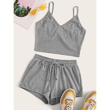 Heathered Knit Cami Top & Drawstring Shorts Set