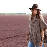 Elan Clothing Poncho Sweater with Cowl Neck in Taupe SW1177
