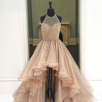Custom Made Round Neck High Low Prom Dresses, High Low Formal Dresses