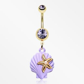 Golden Pastel Sparkle Ariel's Shell with Starfish Belly Button Ring