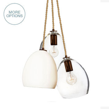 Rustic Ship Rope Matte White Porcelain Globe Clay & Hand Blown Clear Glass 3 Pendant Chandelier