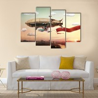 Dirigible In The sky Multi Panel Canvas Wall Art