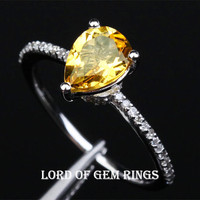 Pear Citrine Engagement Ring Pave Diamond Wedding 14K White Gold 6x8mm