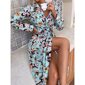 Allover Floral Knot Side Wrap Dress