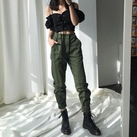 High Waisted Cargo Trousers