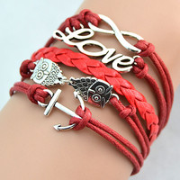 Popular Bracelets Show Mix Infinity Anchor Leather Love Owl Charm Multilayer Handmade Red