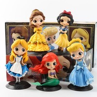 With Box Disney Princess Beauty and The Beast Belle Mermaid Ariel Cinderella Snow White Figures PVC Model Princess Toy Girl Gift