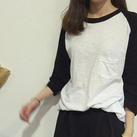 Long Sleeve Cotton T with Pocket