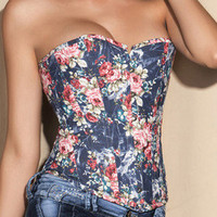 2012 New Sexy Strapless Lace up Floral Corset Top Bustier IN S M L XL 2XL SIZE