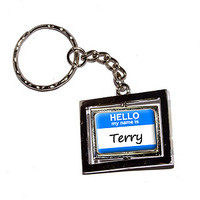 Terry Hello My Name Is Keychain