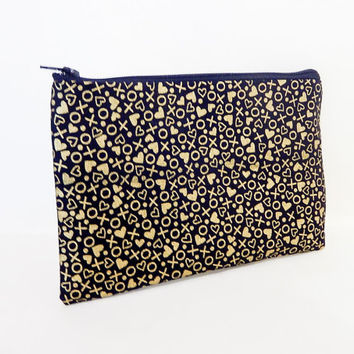 Heart Pouch, X's and O's Pouch, Gold Metallic Pouch, Change Pouch, Coin Purse, Black Pouch, Fabric Pouch, Zipper Pouch, Cosmetic Bag, Pouch