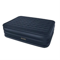 Queen-size Inflatable Airbed Air Mattress with Waterproof Flocked Top and Pump