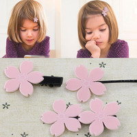 Lovely 5 Leaf Pink Flower Hair Clips and Pins for Kids Children Elastic Hair Bands Cute Girls Headwear Rubber Bands