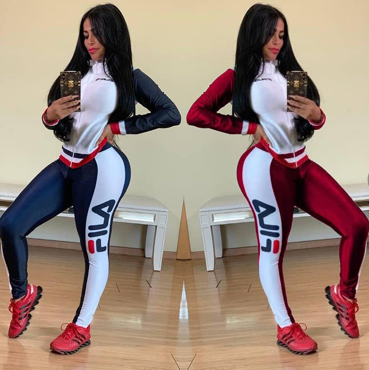 Image of FILA New Popular Women Casual Round Collar Top Pants Set Two-Piece