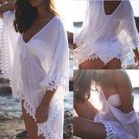 Sexy Ladies Bikini Cover Up Sheer Lace Hollow Hem Bathing Suit Beach Dress Smock = 1945673412