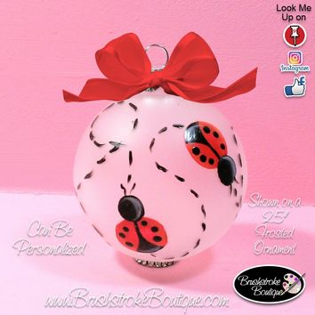Hand Painted Ornament - Glass Ball Ornament - Ladybugs - Original Designs by Cathy Kraemer
