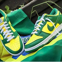 Bunchsun Nike SB Dunk Low Hot Sale Men Casual Sport Shoes Sneakers Green&Yellow