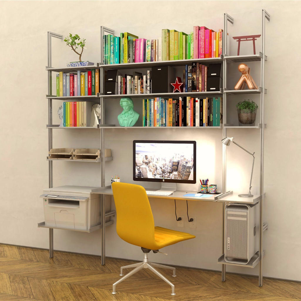 Image of 3 Bay All Aluminum Desk with Shelves