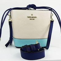 Kate spade Fashion new high capacity shopping travel splice women bucket bag shoulder bag White blue