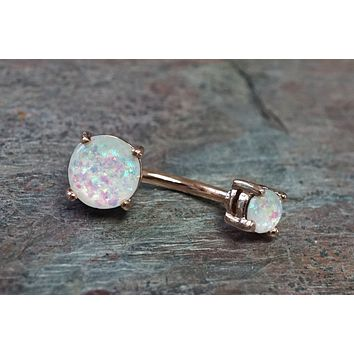 Rose Gold Belly Button Ring Opal Belly Button Rings Opal Belly Rings