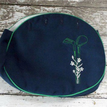 Vintage Bermuda Bag Purse Cover Preppy Replacement Bag Embroidered Golf Clubs Green Navy Blue