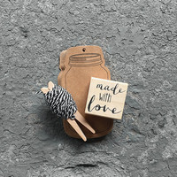"""DIY -16 Kraft Marson Jar Gift Tags with 7 yards of Black and white bakers twine, and a """"Made with love"""" wooden rubber stamp. craft supplies"""