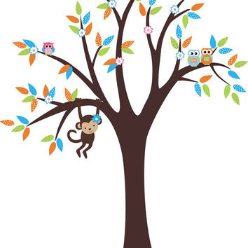 """Hanging Monkey Decal, Wildlife Nursery Decal, Forest Wall Decals, Woodland Wall Decals, Forest Nursery Decor, Nature Wall Decals - 82"""" x 65"""""""