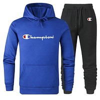 Champion tide brand men and women models cotton wild hooded sweater sports suit two-piece Blue