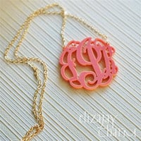 intwined monogram acrylic necklace