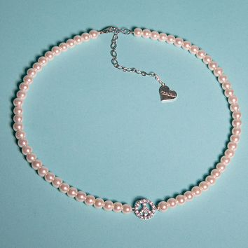 Pearl Peace Sign Necklace
