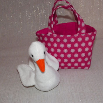 Graceful Swan Teeny Tote Bag with Plush Toy in Bright Pink and White Floral